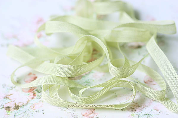 Sheer Cotton Ribbon for Miniatures - Moss Green - 100% Cotton - 8mm wide