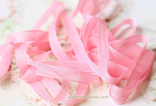 Sheer Cotton Ribbon for Miniatures - Pink - 100% Cotton - 8mm wide-sheer cotton ribbon