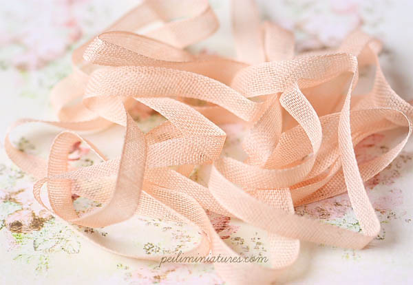 Sheer Cotton Ribbon for Miniatures - Peachy Pink - 100% Cotton - 8mm wide-sheer cotton ribbon