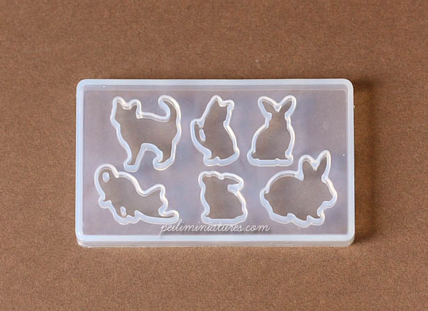 Miniature Soft Mold - Bunnies and Kitties Mold-miniature bunnies mold, miniature kitties mold