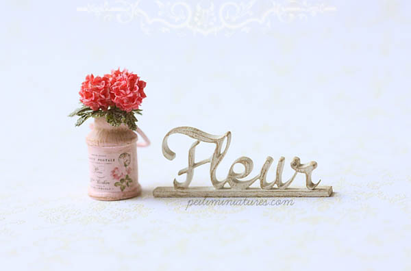 Dollhouse Miniature - Wood Letters - Free Standing Wooden Letters - Fleur (BIG)-dollhouse miniature free standing words