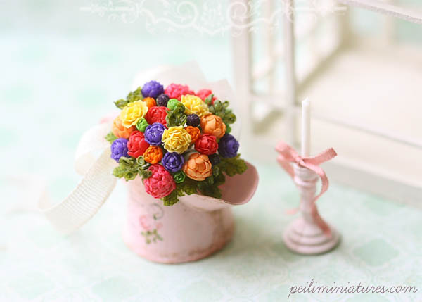 Dollhouse Miniature Bouquet - Color Burst - Dollhouse Flowers-dollhouse miniatures, dollhouse miniature, miniature flowers, peonies