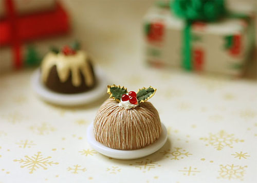Dollhouse Miniature Food - Christmas Pudding Chestnut Flavour