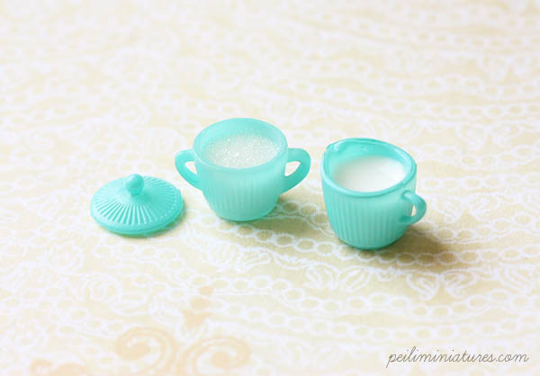 Dollhouse Miniature Turquoise Sugar Bowl and Milk Jar Set - Kitchen Accessories in 1/12 Scale-Dollhouse miniature sugar bowl and milk jar