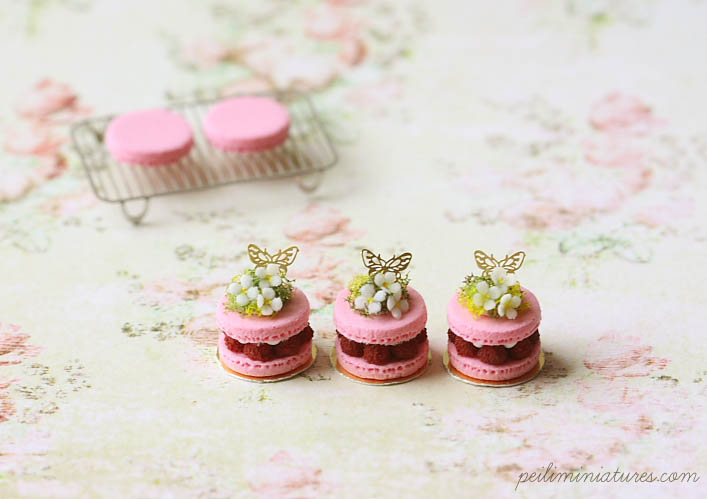 Dollhouse Miniature Food - Spring Theme Macaron Patisserie