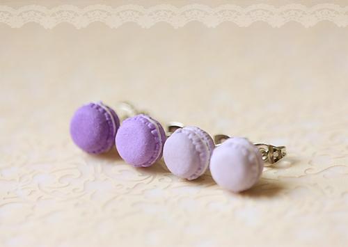 Food Jewelry - French Macarons Earrings (Purple Series)-food jewelry, french macarons earrings