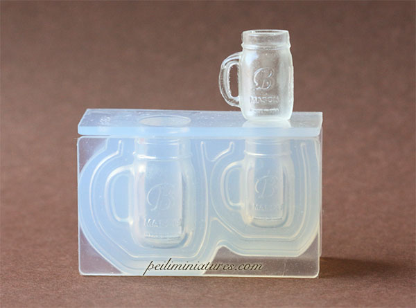 Dollhouse Miniature Mason Jar Mug Silicone Mold-Dollhouse Miniature Mason Jar Mug Silicone Mold