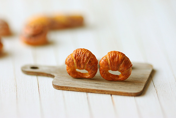 Food Jewelry - Croissant Earrings