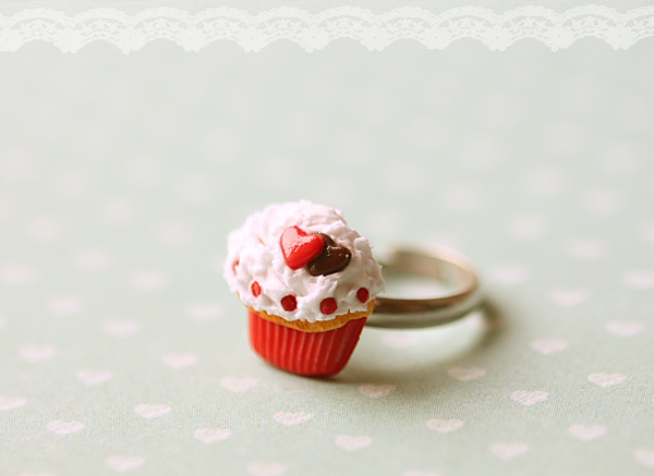 Food Jewelry - Sweet Heart Cupcake Ring-food jewelry, Sweet Heart Cupcake Ring