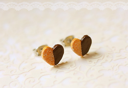 Food Jewelry - Food Earrings - Heart Cookies Earrings
