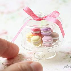 Dollhouse Miniature Food Sweet Macarons on Glass Display Stand
