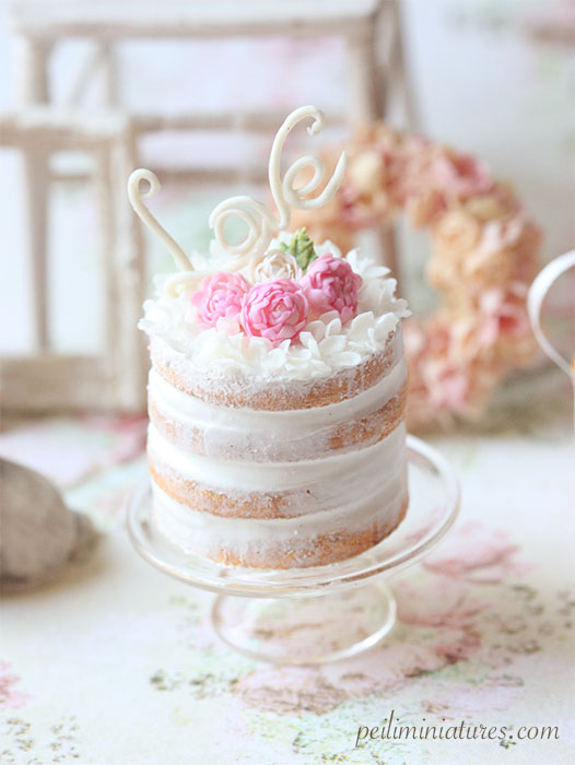 Dollhouse Miniature Food - Love Naked Cake