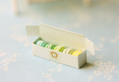 Dollhouse Miniature Food - Assorted Blue and Green Macarons in Elegant Box - For Lati Yellow or Pukifee-dollhouse miniature food, macarons, 1/12 dollhouse miniature scale, lati yellow
