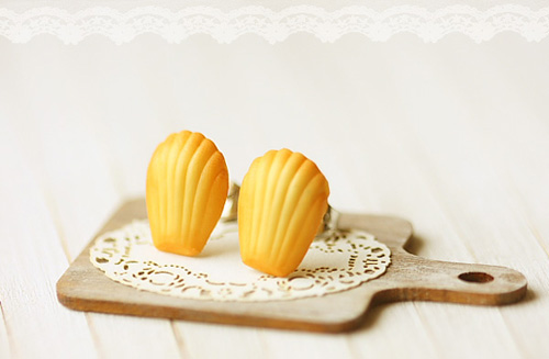 Food Jewelry - French Madeleine Earring Studs-french madeleine, earring studs, faux food jewelry, pei li miniatures,