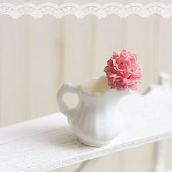 Dollhouse Miniature Pink Hydrangea Flower in White Porcelain Jug