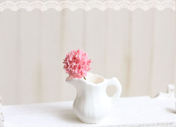 Dollhouse Miniature Pink Hydrangea Flower in White Porcelain Jug