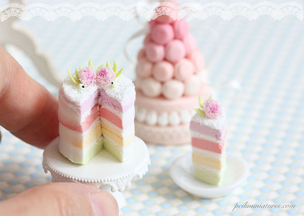 Dollhouse Miniature Food - Rainbow Pastel Cake