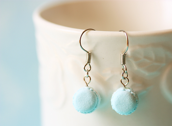 Dangle Earring - Powder Blue Macarons-food jewelry, macaron earrings, dangle earring