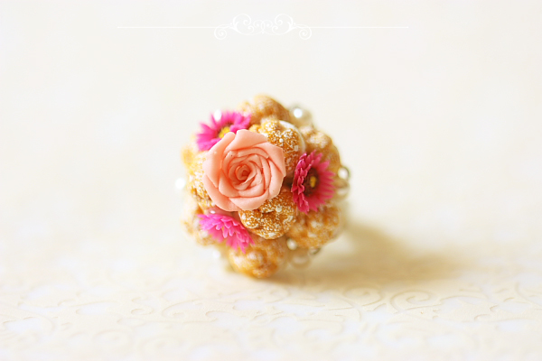 Food Jewelry - Profiteroles Ring-elegant profiteroles ring, singapore, miniature wearables, faux food, profiteroles ring, gerbera daisies, elegant ring, Food Jewelry