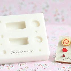 Dollhouse Miniature Swiss Roll Cake Slice Mold