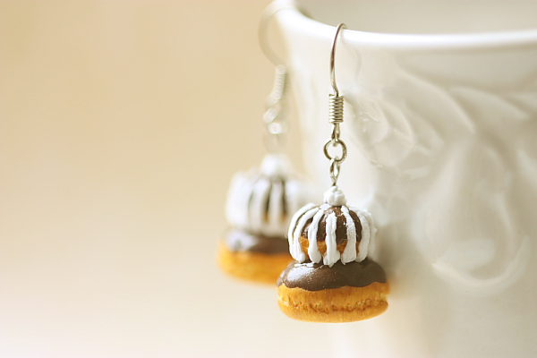 Food Jewelry - Chocolate Religieuse Earrings