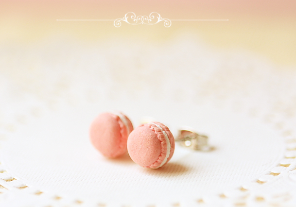 Food Jewelry - Pink Macaron Earring Posts-food jewelry, sweet pink macaron earrings