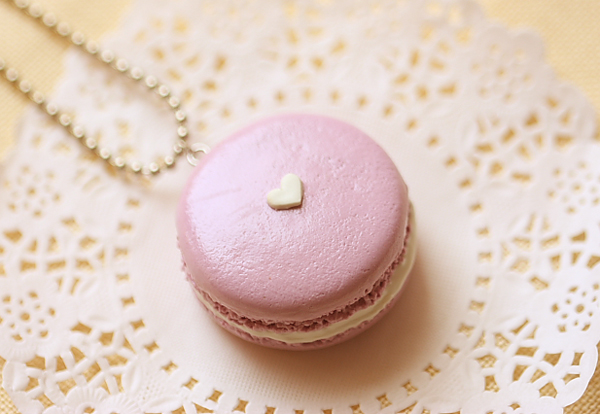 Macaron Necklace in Lavender Love Color-macaron necklace, macaron jewelry, food jewelry,