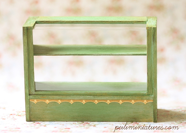 Dollhouse Miniature Antique Green Cake Display Shelf-dollhouse miniature cake display shelf