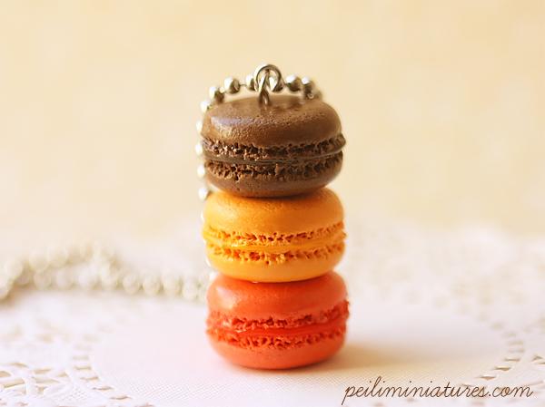 Macaron Jewelry - Trio Macarons Necklace - Fall Macarons-food jewelry, macarons necklace, macaron jewelry