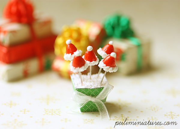 Miniature Dollhouse Food - Christmas Santa Hat Cake Pops in 1/12 Scale-miniature dollhouse food, dollhouse miniatures, miniatures, dollhouse miniature food, cake pops, pei li miniatures