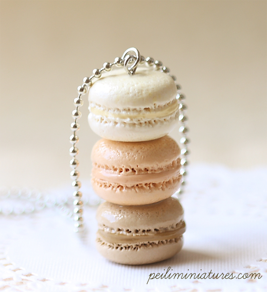 Macaron Jewelry - Trio Macarons Necklace - Milk and Honey Macarons