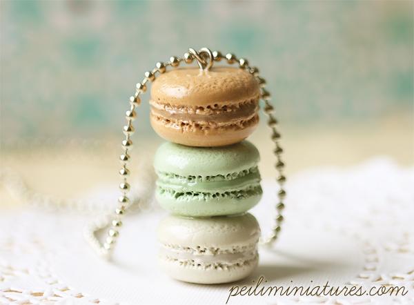 Macaron Jewelry - Trio Macarons Necklace - Mint Chic Macarons-macaron jewelry, macaron necklace