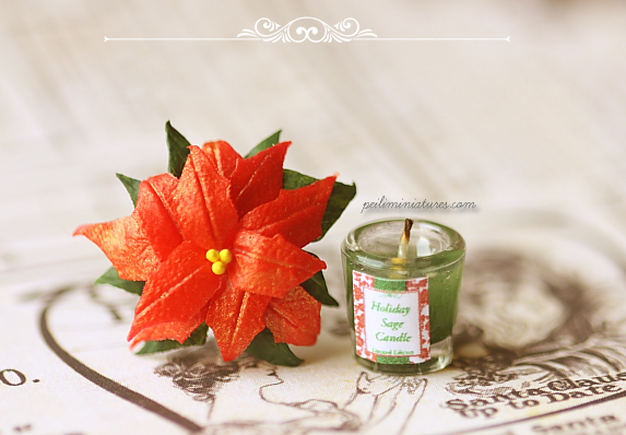 Dollhouse Miniature Christmas - Christmas Candle and Poinsettia