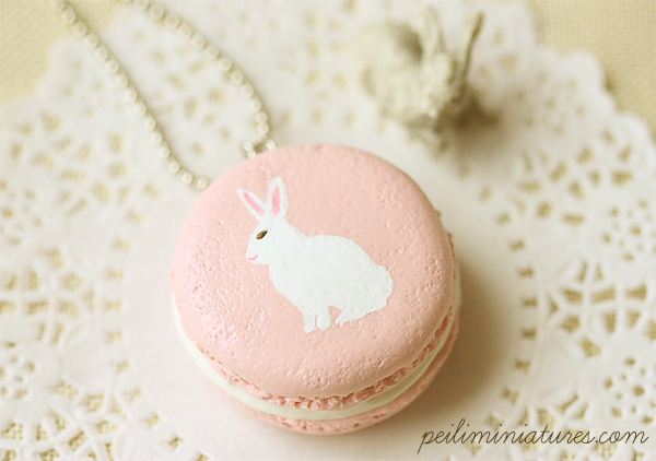 Bunny Necklace - Pink Bunny Macaron Necklace