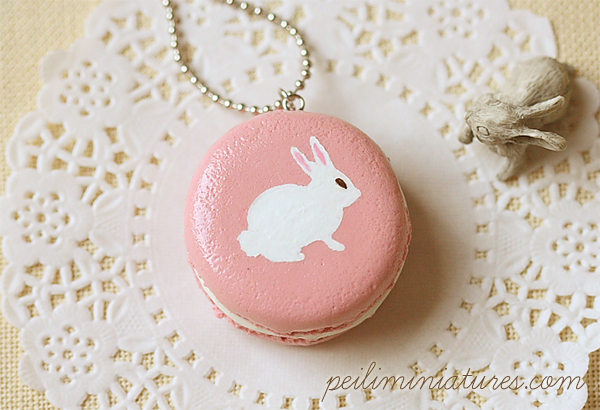 Rabbit Necklace - Pink Rabbit Macaron Necklace-rabbit necklace, pink rabbit macaron necklace