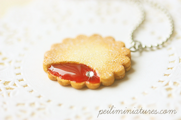Cookie Jewelry - Cookie Necklace - Strawberry Jam Cookie Necklace-cookie jewelry, cookie necklace, strawberry jam cookie necklace