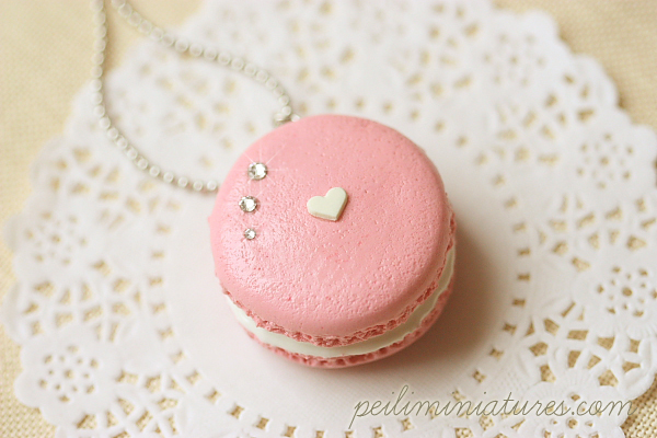 Macaron Necklace - Sweet Pink Macaron with swarovski crystals-macaron necklace