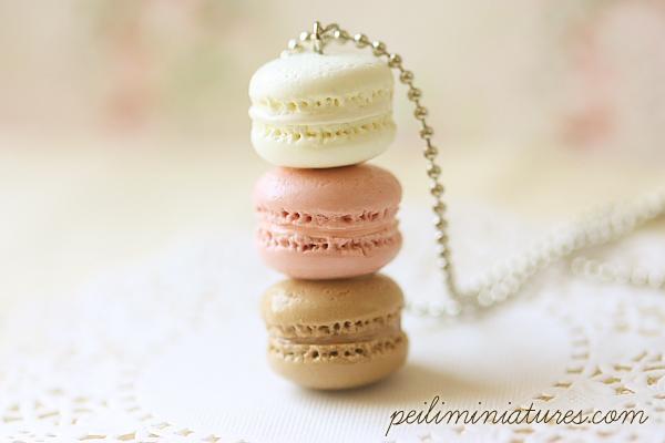 Macaron Jewelry - Trio Macarons Necklace - Nude Pink Macarons