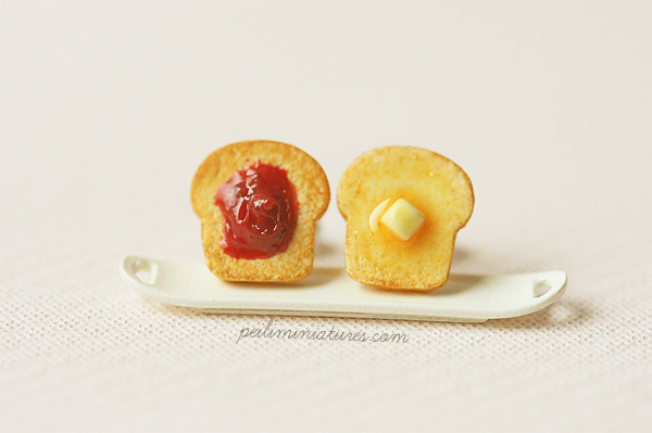Breakfast Earrings - Strawberry Jam and Butter Toast Earrings