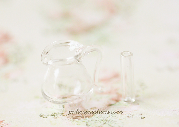 Dollhouse Miniature Accessories - Glass Pitcher and Slim Vase