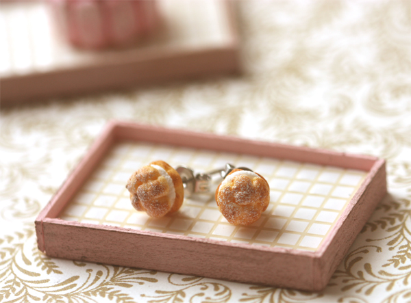 Food Jewelry - Cream Puff Earring Studs-jewelry earrings, resin air dry clay studs, cream puffs, profiteroles earrings, miniature food pastries, patisserie earrings, pei li miniatures, realistic food, Food Jewelry