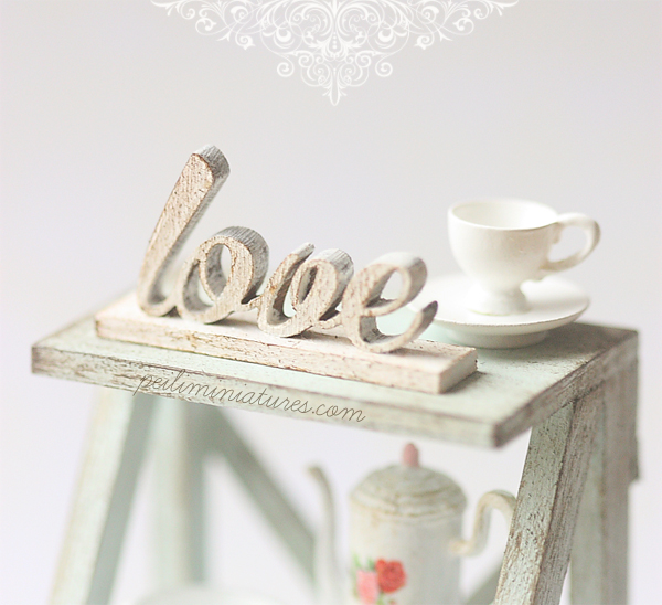 Dollhouse Miniature - Free Standing Distressed Wooden Letters - LOVE