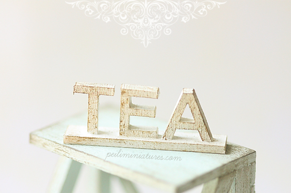 Dollhouse Miniature - Wood Letters - Free Standing Wooden Letters - TEA (Big)-dollhouse miniature wood letters