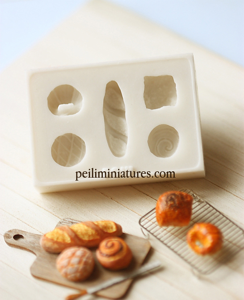 Miniature Clay Mold � Push Mold for Making Dollhouse Miniature 1/12 Scale French Breads